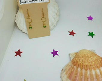 Earrings gold and Crystal bead