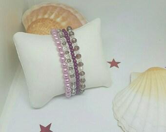 Set of 4 bracelets elastic Crystal beads.