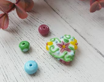 Floral Beads - Patterned Heart Bead - Summer Floral Beads - Glass Bead Set - Handmade Beads - Heart Focal Bead - Beads for Jewellery Making