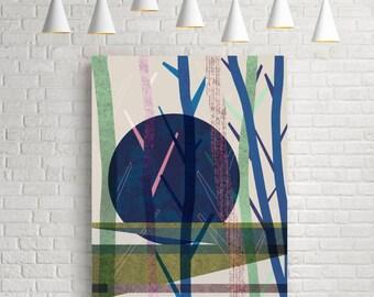 Modern art, modern abstract, modern print, modern wall art, modern poster, modern art print, moon print, forest print, moon art, moon poster