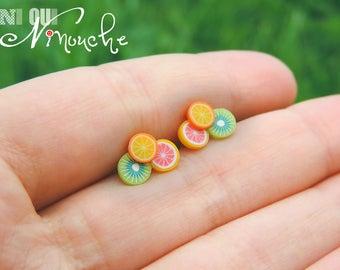 Fruit Stud Earrings 3 mini fruit cane (fimo) orange grapefruit, kiwi