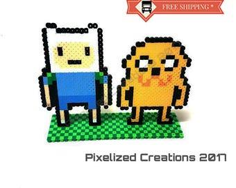 Adventure Time Inspired Finn & Jake Desk Buddy with Pixelated Grass Stand. Custom Design