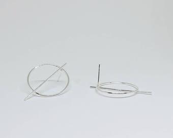 Circle Bar Sterling Silver Stud Earrings