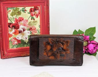 Vintage Leather Clutch Bag/1920's Leather Evening Handbag/Toolwork Clutch Bag (Ref1987G) Code: 10385