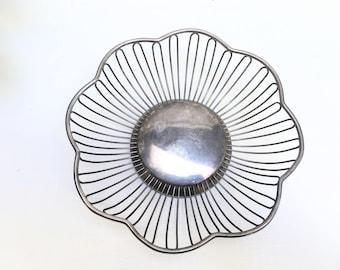 Silver Plate Flower Basket | Vintage Silver Decor, Servingware | Rustic, Shabby Chic Decor, Patina, Tarnished