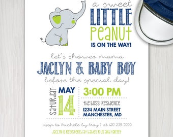 elephant baby boy shower invite, little peanut printable baby shower invitation, chevron  personalize navy and lime green
