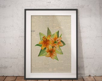 Bouquet Flower Print | Yellow Bouquet Art, Floral Bouquet Print, Floral Bouquet Art, Floral Newspaper, Newspaper Wall Art, Flower Newspaper