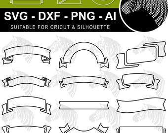Banner SVG Ribbon SVG Outline Files for Cricut Silhouette Laser Cut Engraved svg dxf png ai files (scrap booking clip art clipart vinyl)