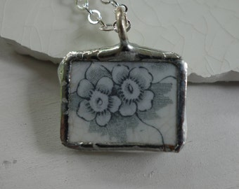 Gray flower pendant - broken china jewelry- broken china pendant - vintage china necklace-  unique flower necklace