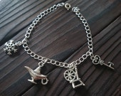 Beautiful Disney inspired silver plated four charm bracelet - 7-9 inch - choose your charms! Custom / unique / one of a kind