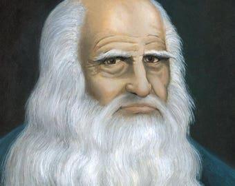 Original painting: portrait of Leonardo da Vinci