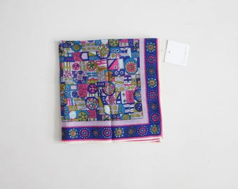 1960s psychedelic scarf | wool square scarf | neck scarf