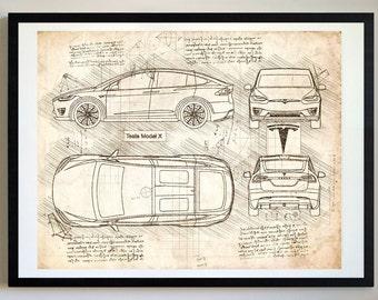 Tesla blueprint etsy tesla model x 2016 da vinci sketch tesla artwork blueprint specs malvernweather Gallery