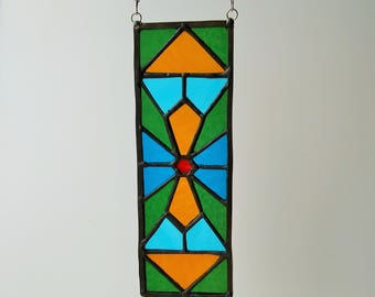 Stained glass panel geometrical 2.9'' х 8.2'' calm colours