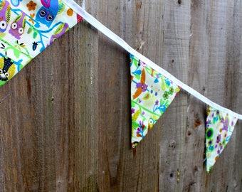 BUNTING   Colourful / Multi-Coloured Owl Print    Interior / Nursery   Exterior / Summer Garden Party Décor