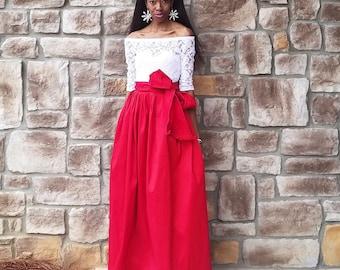 """Satin Taffeta Maxi Ball Skirt with Bow """"CEOLA"""" (XS - 6XL) Several COLORS, Any Length, Any Size"""