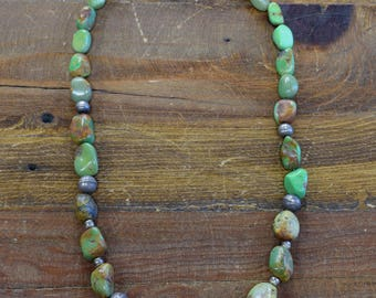 Green Turquoise and Sterling Silver Beads Necklace