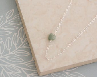 Green Aventurine Heart Necklace, Sterling Silver Wire Wrapped Pale Green Heart Shaped Gemstone Chain