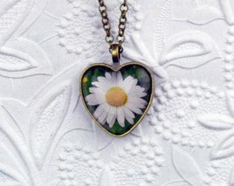 Daisy Necklace in Bronze Heart Setting Daisy Jewelry Heart Necklace Heart Jewelry Photo Necklace Photo Jewelry