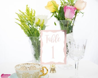 Rose Gold Foil Brushstroke Border Table Numbers, Custom, Handmade, Wedding, also in Copper, Silver, and Gold  #0109