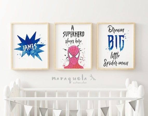 CUSTOM SPIDERMAN SET in watercolor for boy's room for little superheros