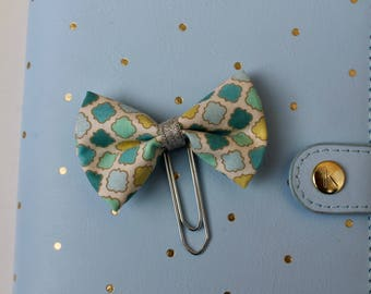 Minty -fabric bow planner clip