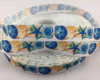 "Sea shell Grosgrain Ribbons, beach ribbons, ocean ribbons, Available in 5/8"" or 7/8"""
