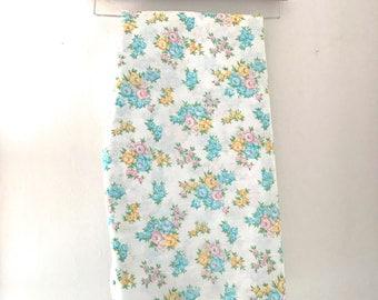 Vintage Blue, Pink, and Yellow Floral Sheet Set, Vintage Shabby Chic Sheet Set, Vintage Double Sheet Set by Dantrel