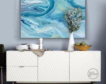 "ABSTRACT FLUID Agate Paint ""Ocean Park"" - Art Print Poster Canvas - On Trend"