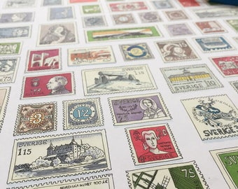 Grandpa's Stamps - Fine Art Giclée limited edition print of old Swedish stamps