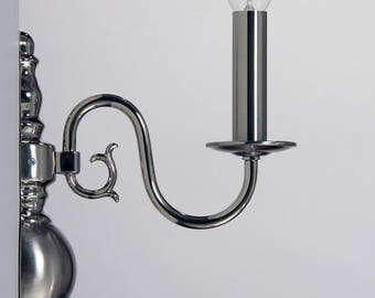 Flemish wall lamp, nickel polished/matt, 1xE14