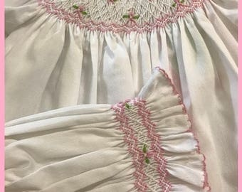 White Smocked Daygown with matching Bonnet