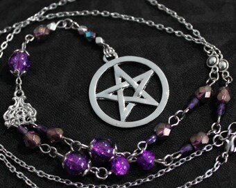 Rosary chain silver metal with purple beads and silver pentacle pendant necklace