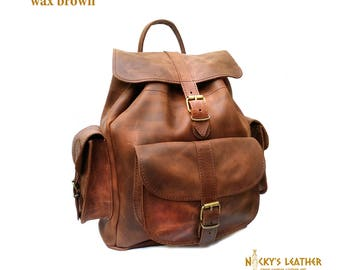 WAXED LEATHER BACKPACK from 100% Full Grain Leather