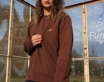 Nike Brown Sports Sweater small logo 90s Vintage