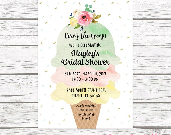 Ice Cream Bridal Shower Invitation, Ice Cream Social Invitation, Watercolor Bridal Shower Invite, Sprinkle Bridal Shower Printable
