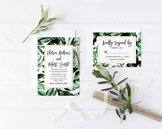 Tropical Wedding Invitation, Palm Leaf Wedding Invitation, Palm Wedding Invitation, Destination Wedding Invitation, Green Printable Invite