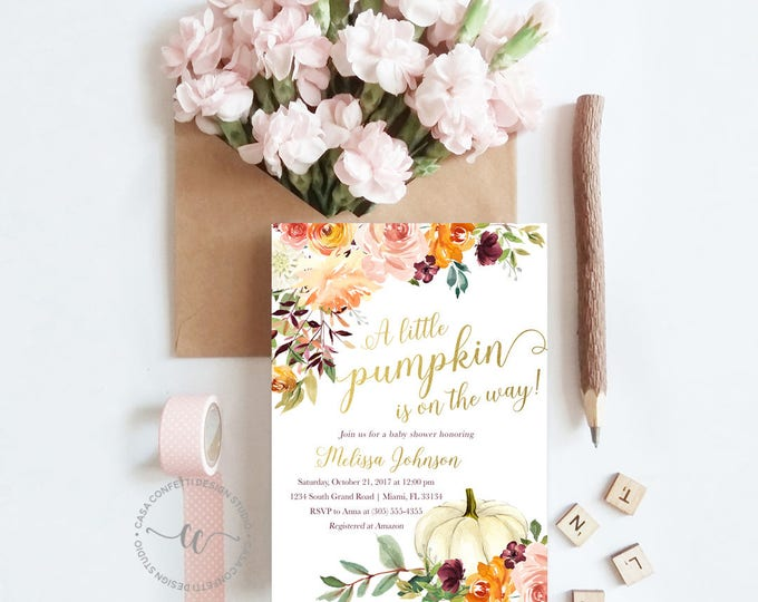 Pumpkin Baby Shower Invitation, Fall Baby Shower Invitation, Little Pumpkin on the Way Invite, Rustic Gender Neutral Baby Shower Invitation