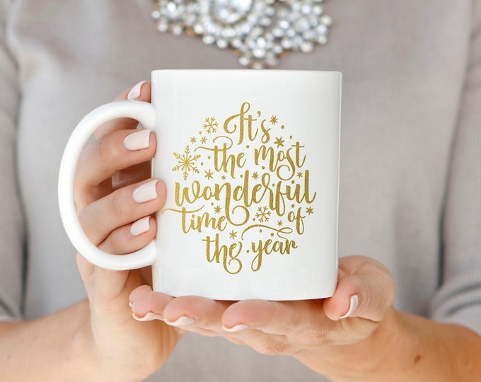 Gold Christmas Mug, Christmas Gift, Gold Foil Mug, Holiday Mug, Hand Lettered Mug, Most Wonderful Time of the Year Mug, Christmas Coffee Mug