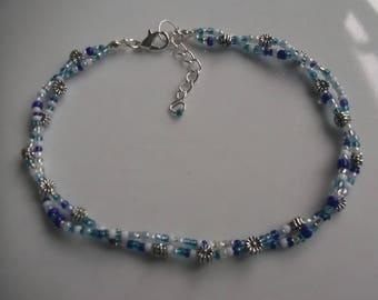 Flower anklet, ankle bracelet, stretch anklet, glass beaded anklet, seed bead anklet, boho anklet, beach anklet, blue anklet
