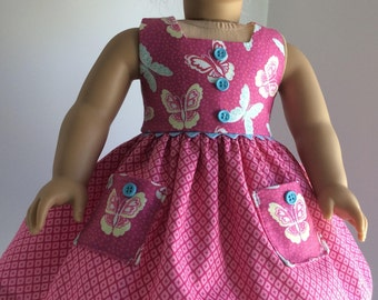 PINK BUTTERFLY DRESS Fits My American Girl Doll And Other 15 inch Dolls