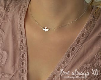 Dove Necklace, Bird Necklace, Soaring Dove, soaring bird, minimalist necklace, sterling silver necklace, Silver bird necklace