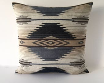 "Designer Pillow - Indigo Accent Pillow - Decorative Pillow Cover - Southwest Throw Pillow 20"" x 20"""