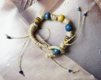 Bracelet natural organic rustic wood beads and glass and linen