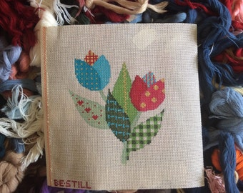 Patchwork tulips: a hand-painted canvas for needlepoint