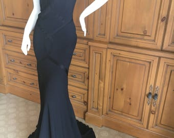 John Galliano 1990 Long Black Evening Dress With Tags