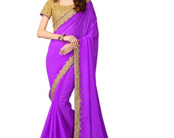 Indian Designer Purple Colored Georgette Saree Formal Bridal Saree Party Wear Saree for Women