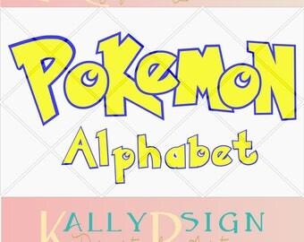 pokemon alphabet, pokemon svg, alphabet letters, svg fonts, monogram fonts, pokemon party, pokemon art, pokemon invitation