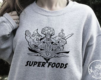 Superfoods Sweater vegan fitness gifts for runners running top healthy eating vegetarian veggie gift for women hippies