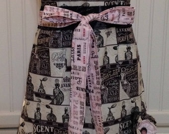 Womens full apron Paris French perfume black cream  pink ruffled layers cotton shabby chic Paris toile print extra long tie posh girl apron